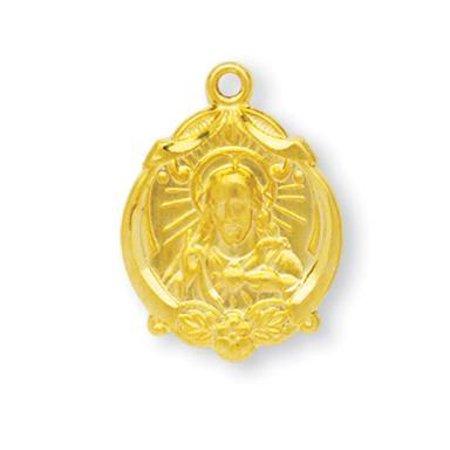 Gold Over Sterling Silver Scapular Medal Pendant 14k Gold Scapular Medal