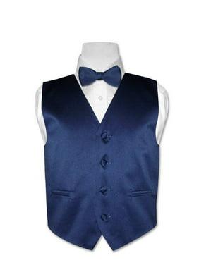 Covona BOY'S Dress Vest BOW TIE Solid NAVY BLUE Color BowTie Set size 4