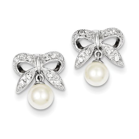 925 Sterling Silver Bow Ribbon White Freshwater Cultured Pearl and Cubic Zirconia Dangle (Sterling Silver Ribbon Earrings)