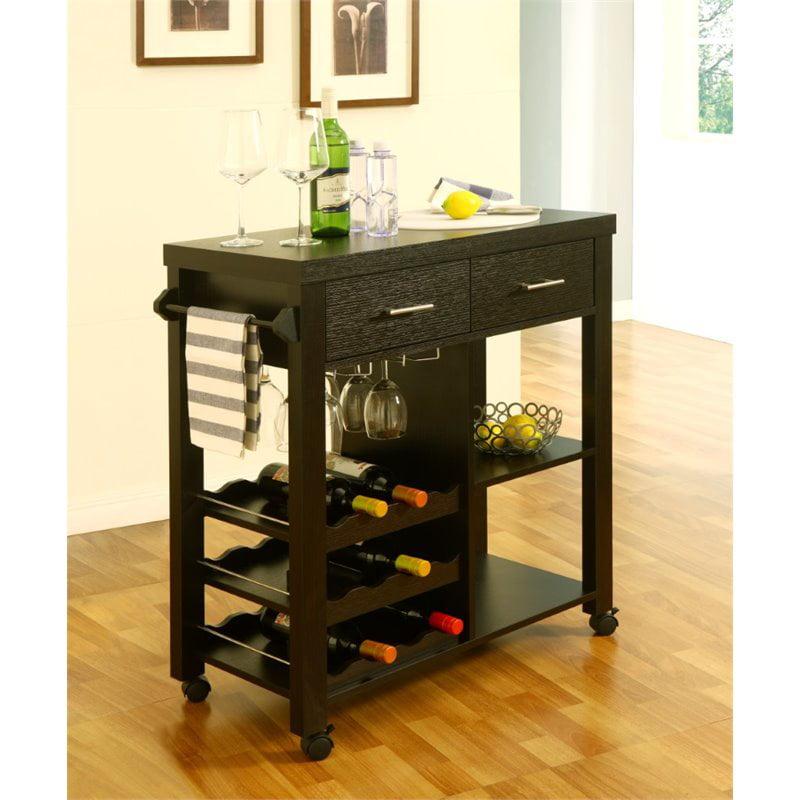 Furniture of America Cranor Bar Cart in Cappuccino