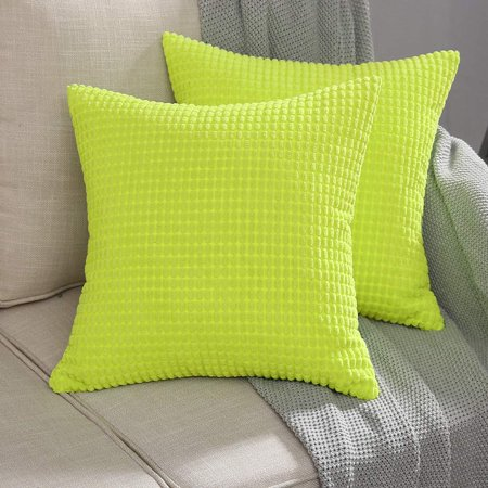 Wendana Pack of 2 Corduroy Soft Soild Decorative Square Throw Pillow Covers Set Fluorescent Green Cushion Case for Sofa Bedroom Car 16 x 16 Inch 40 x 40 cm 1 Light Fluorescent Square Diffuser