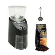 Capresso Jura Infinity 560.01 Conical Burr Coffee Grinder Black + Capresso Grand Aroma Whole Bean Coffee (8.8oz) Swiss Roast Regular + Accessory Kit