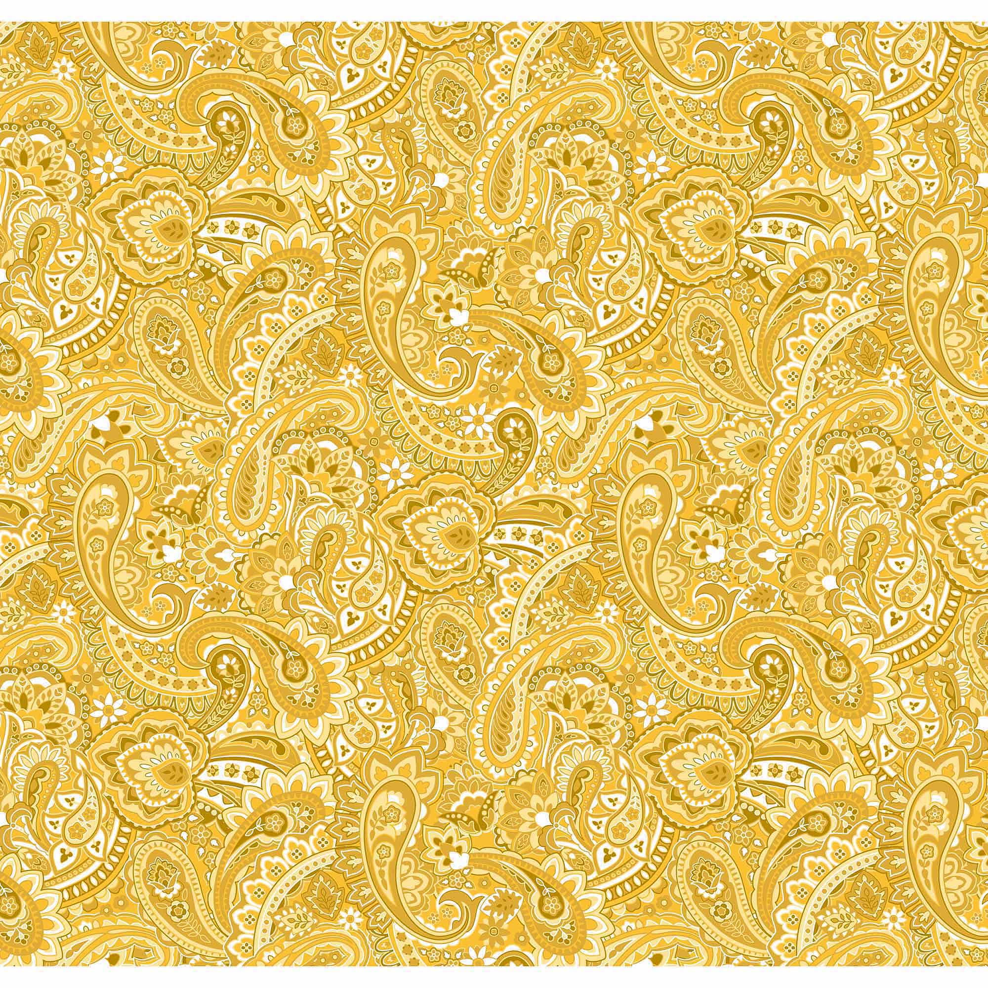 Springs Creative Cotton Blenders Gadabout Paisley, Golden Yellow, Fabric by the Yard