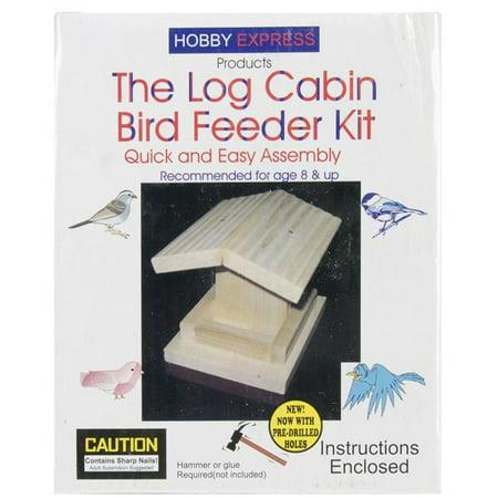 Pinepro Log Cabin Wood Bird Feeder Kit,