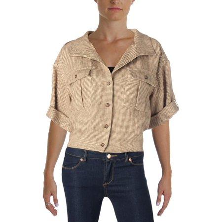 Tan Linen Blazer (Lauren Ralph Lauren Womens Linen Cuffed Sleeve)