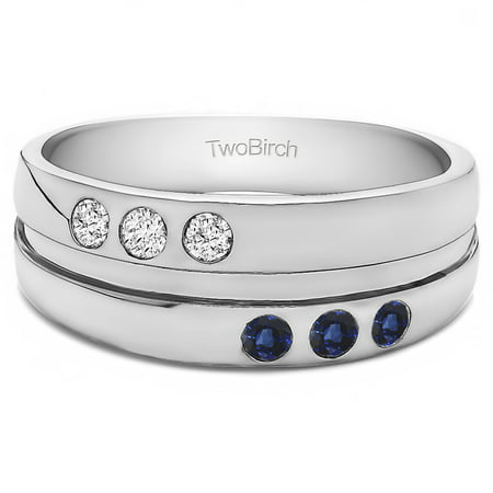 Diamonds (G,I2) and Sapphire Mounted in Silver Diamonds(G,I2) and Sapphire 3 Stone Burnished Set Men's Ring(.48crt) - Mens Burnish Set Diamond