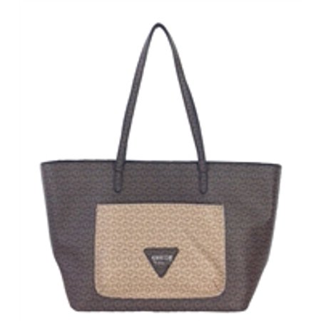 GUESS 'G' Logo Faux Leather Large Tote, Natural Brown