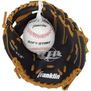 "Franklin Sports 9-1 2"" Black and Tan PVC Left-Handed Thrower Baseball Glove with Ball by Franklin Sports"