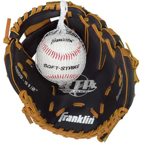 "Franklin Sports 9-1/2"" Black and Tan PVC Left-Handed Thrower Baseball Glove with Ball"