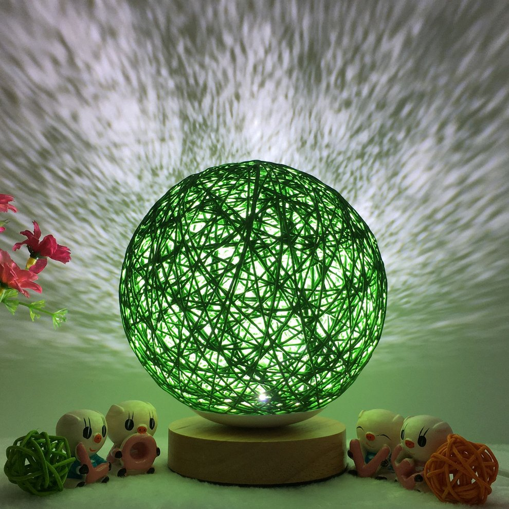 Creative Fashion Rattan Ball Night Light with Wood Base Dimmable Bedside Desk Lamp for Bedroom Home Party Wedding Decor for Christmas