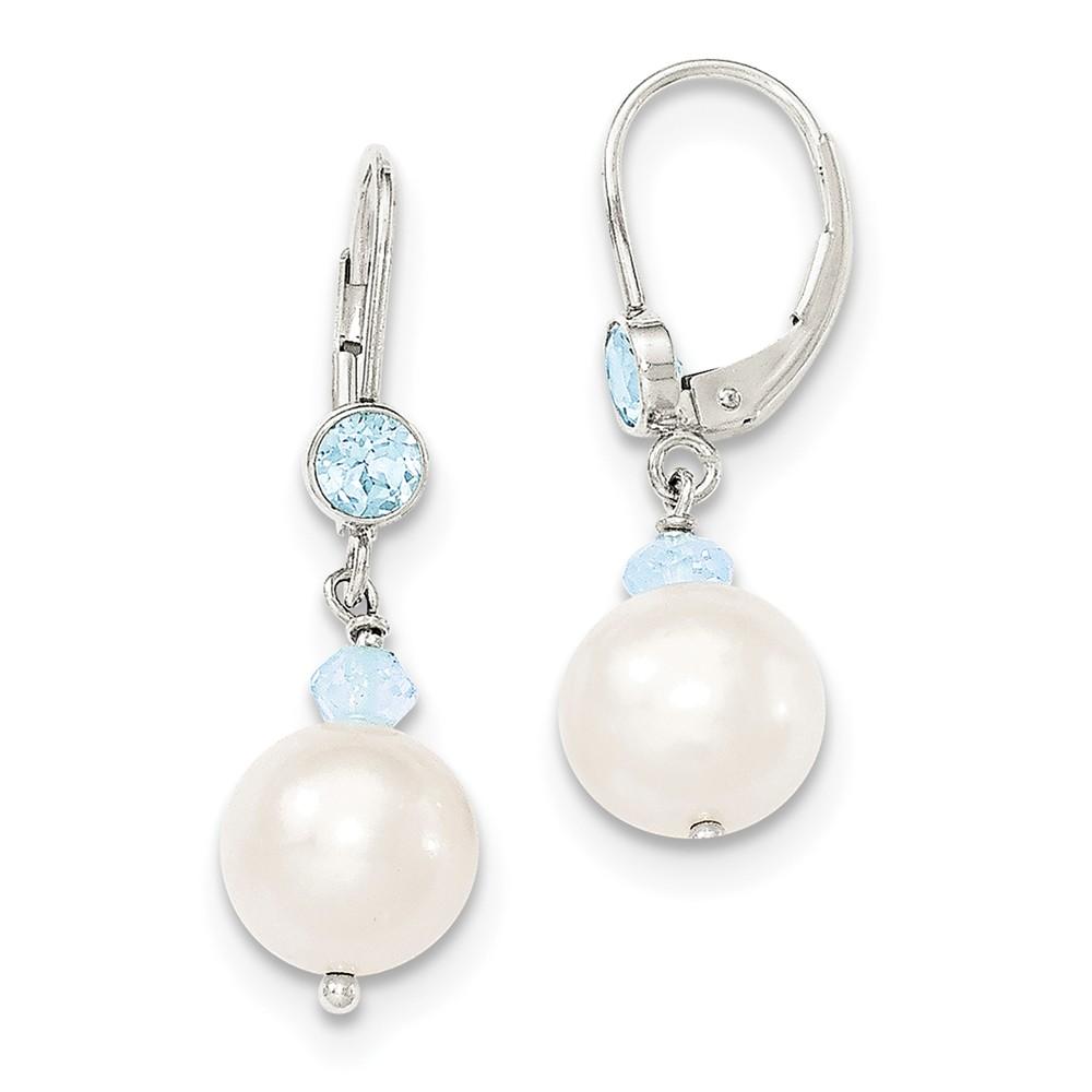 Sterling Silver Freshwater Cultured Pearl w/ Blue Topaz Leverback Earrings (1.2IN x 0.3IN )
