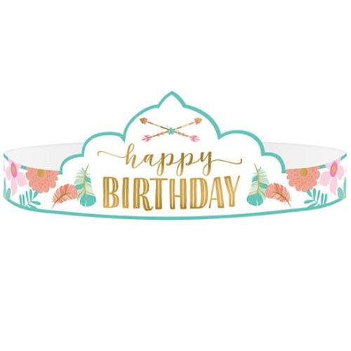 1st Birthday 'Boho Girl' Paper Tiaras (8ct)