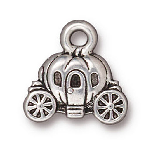 Fine Silver Plated Pewter Cinderella Carriage Charm 14.5mm (1)
