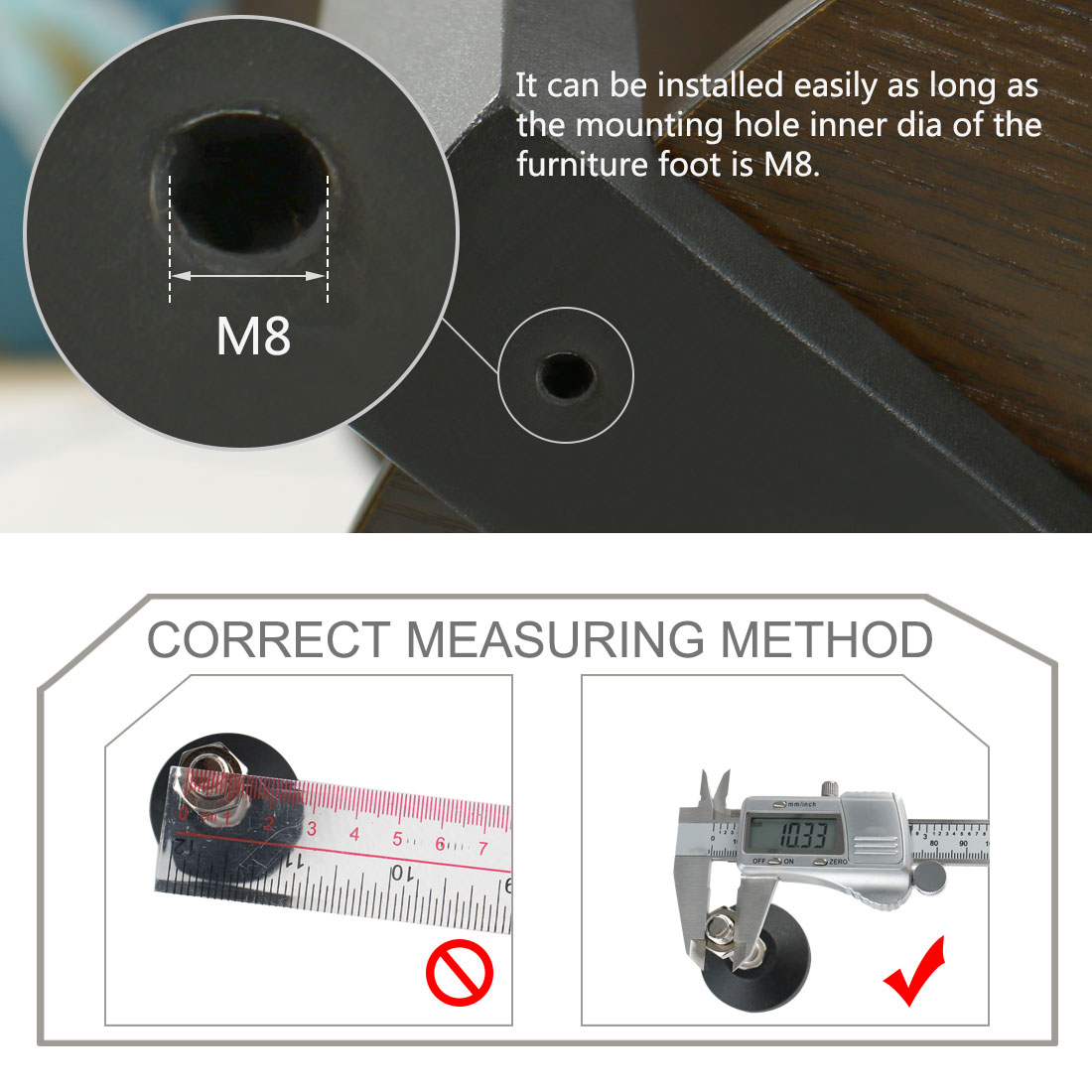 M8 x 94 x 50mm Leveling Foot Adjustable Leveler Protector for Machine Leg 4pcs - image 6 of 7