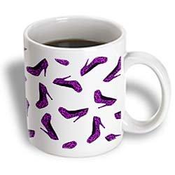 3dRose High Heel Shoes Print Purple Cheetah, Ceramic Mug,