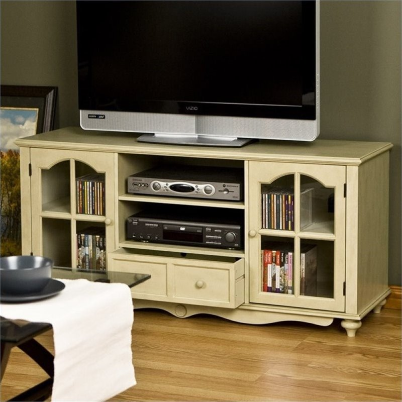 Pemberly Row Large TV Console in Antique White
