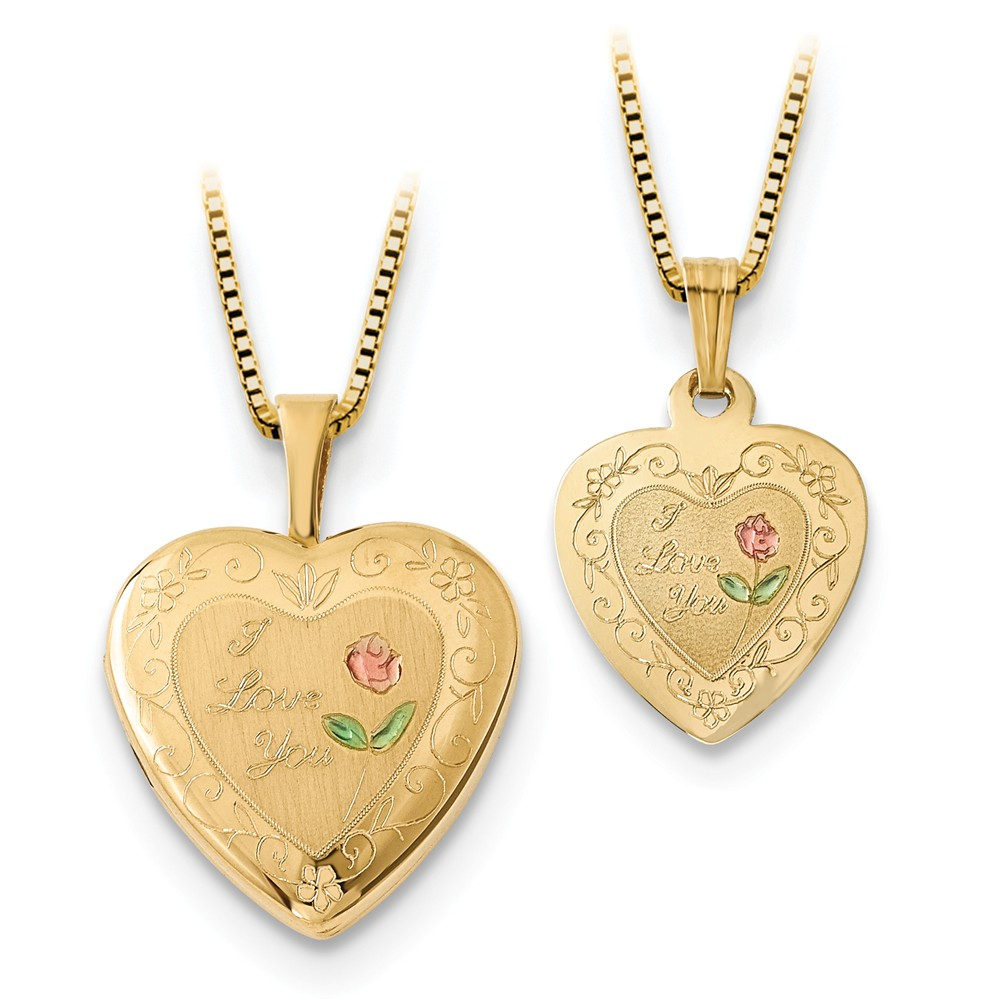 14k Gold 16mm Enamld I Love You Hrt Locket & Gold Plated Sterling Silver 12mm Pendant