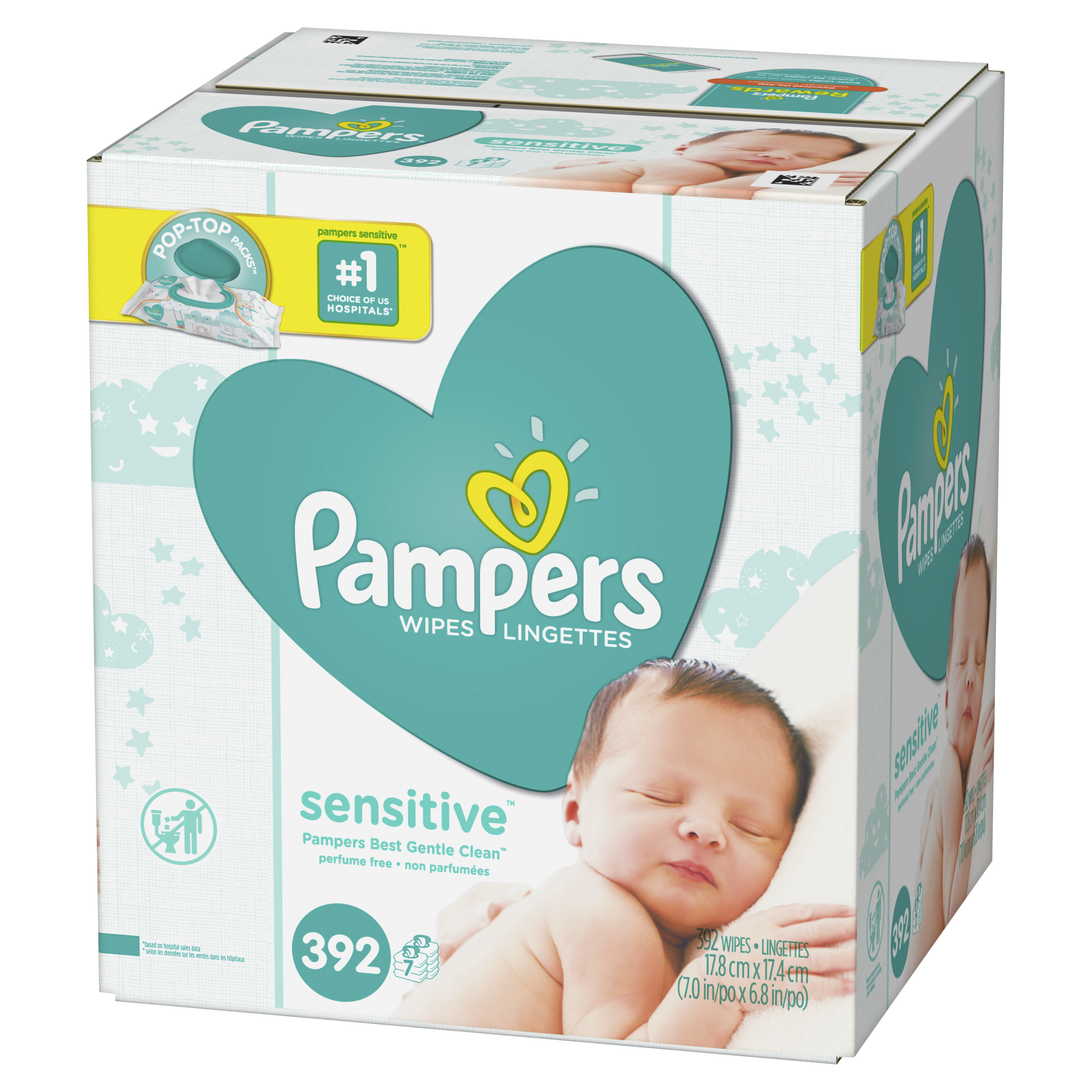 Pampers Baby Wipes, Sensitive, 7X Pop-Top Packs, 392 Count