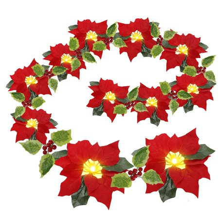Coolmade Pre-Lit Velvet Artificial Poinsettia 6 feet Garland with Red Berries and Holly Leaves - 2AA Battery Operated Indoor and Outdoor Use ()