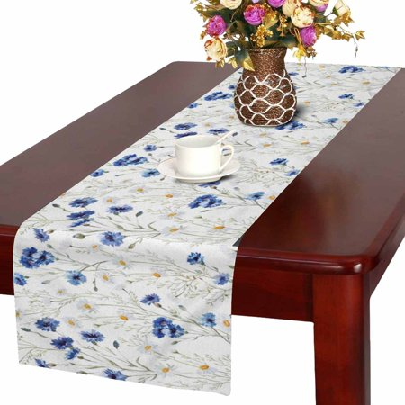 MKHERT Spring Blooms Flower Wildflowers Cornflowers Daisies Table Runner Home Decor for Home Kitchen Dining Wedding Party 16x72 Inch