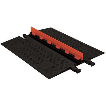 Checkers Industrial Safety Products GD1X75-O-B Polyurethane Heavy Duty 1 Channel Low Profile Cable Protector with ADA Compliant Ramp, Orange Lid with Black Ramp Ada Compliant Accessories
