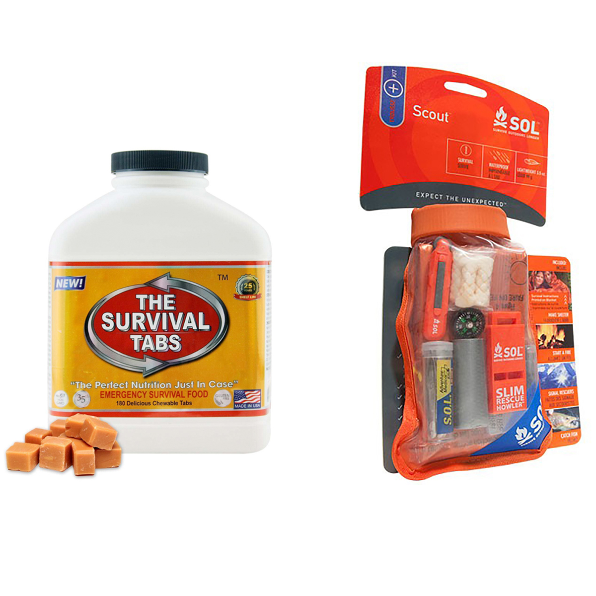 Emergency Food (180 Tabs Butterscotch) for 15 Days and Emergency Outdoor Camping Adventure Medical Scout Survival Kit by