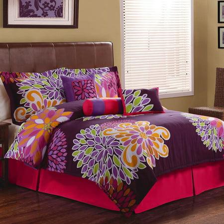 Flower Show Bedding Comforter Set, Purple