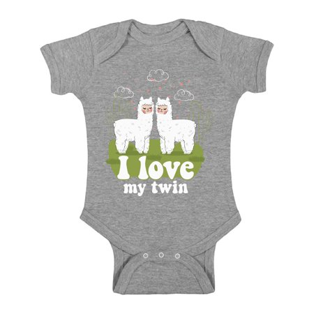 Awkward Styles My Twin Bodysuit Short Sleeve for Newborn Baby Birthday Party Outfit Twins Gifts for 1 Year Old Funny Llamas One Piece Top for Baby Boy Twin and Baby Girl Twin Baby Shower Gifts