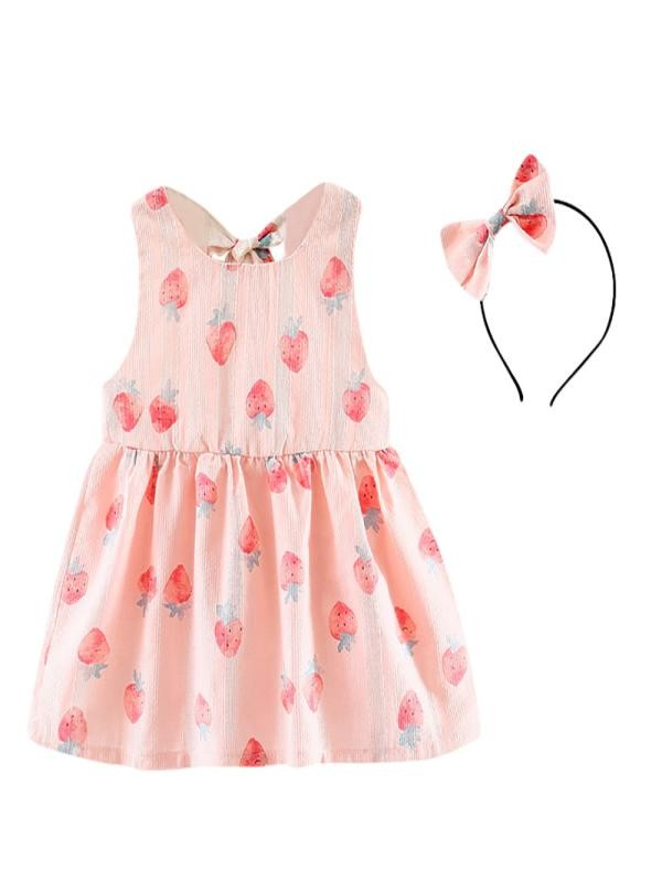 Outtop 2PC Baby Toddler Kids Girls Strawberry Print Backless Dress + Headband Set