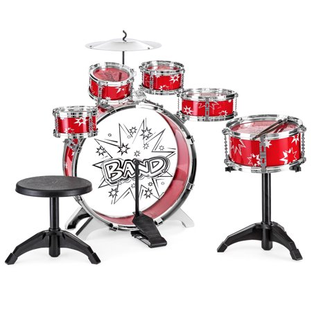 Best Choice Products 11-Piece Kids Starter Drum Set w/ Bass Drum, Tom Drums, Snare, Cymbal, Stool, Drumsticks - Red