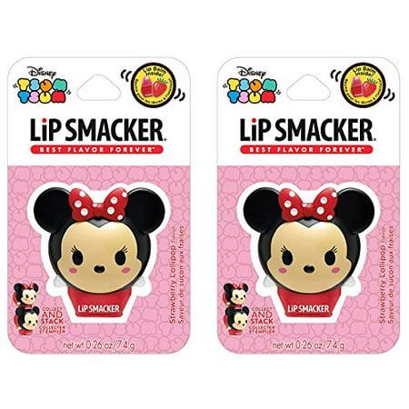Lip Smacker Disney Tsum Tsum Balms, Minnie Strawberry Lollipop, 0.26 Ounce (Pack of 2) - Lollipop Lips Emoji