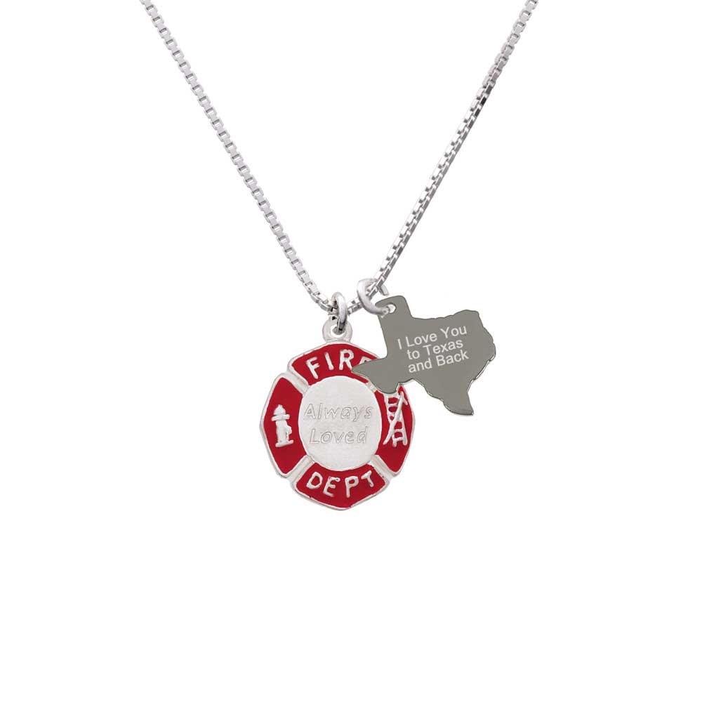 Delight Always Loved Fire Department Shield - I Love You to Texas Necklace
