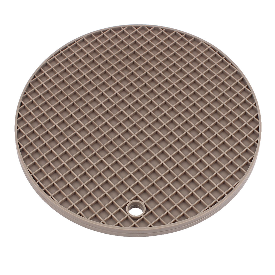 Kitchen Silicone Round Shaped Pot Holder Heat Resistant Mat Light Gray