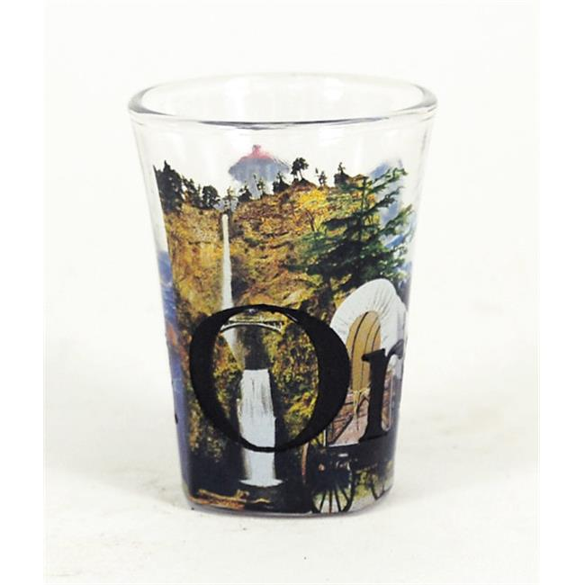 Americaware SGORE01 Oregon Full Color & Etched Shot Glass by