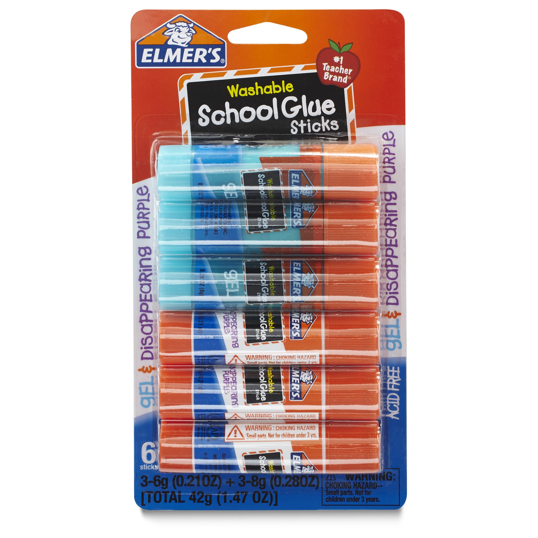 Elmer's School Glue Stick, Assorted, 6pk