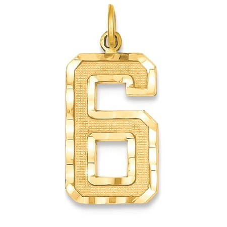 14k Yellow Gold Casted Large Number 6 Pendant Charm Necklace Sport