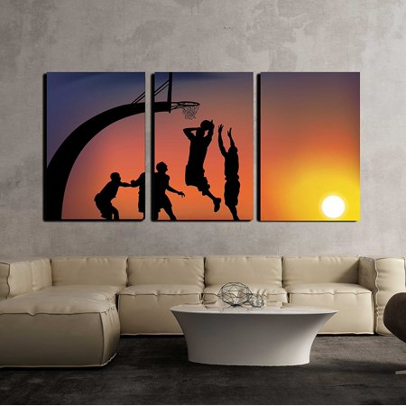 Wall26 3 Piece Canvas Wall Art Vector Basketball Modern Home Decor Stretched And Framed Ready To Hang 24 X36 X3 Panels