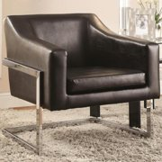 A Line Furniture Zoli Mid Century Modern Design Black Upholstered Accent Chair with Chrome Base