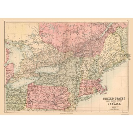 International Map - North Eastern US, Canada - Black\'s Atlas 1867 ...