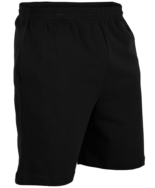 Mens 100% Drawstring Cotton Gym Shorts With Pockets - Black CA6000 S