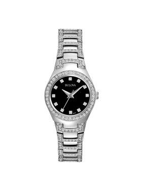 Bulova Women's Crystal Silver Stainless-Steel Quartz Watch 96L170