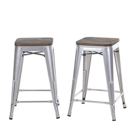 Prime Buschman Set Of Two Gray Wooden Seat 24 Inches Counter High Tolix Style Metal Bar Stools Indoor Outdoor Stackable Unemploymentrelief Wooden Chair Designs For Living Room Unemploymentrelieforg