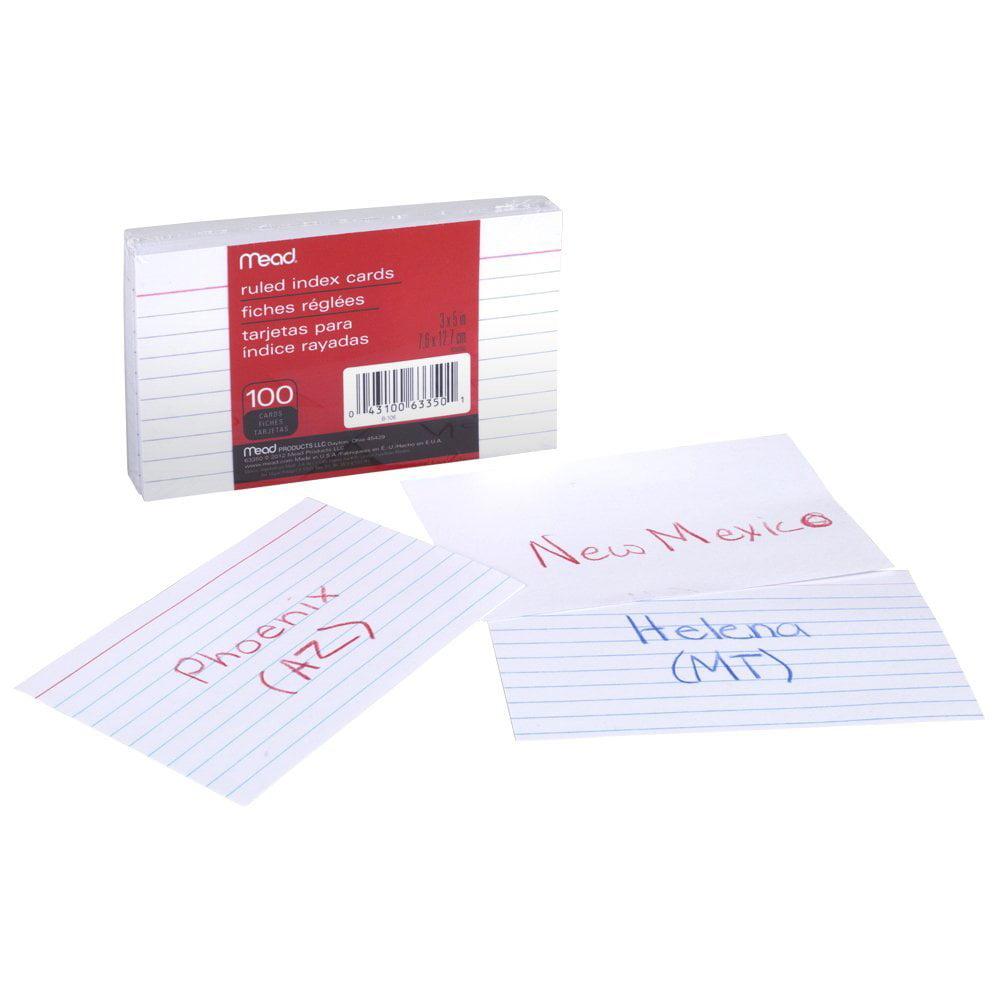CARDS INDEX RULED 3 X 5 100 CT - Walmart.com