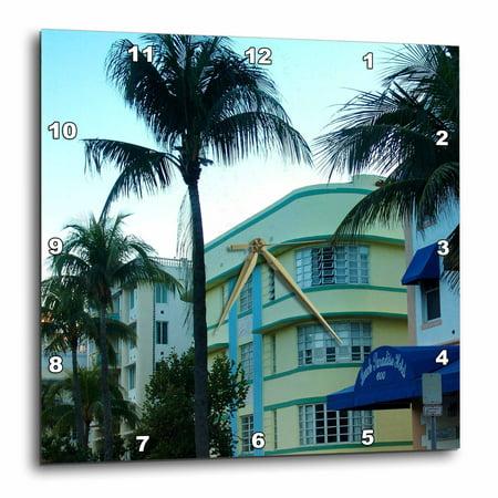 3dRose Miami Beach Art Deco, Wall Clock, 10 by 10-inch (Miami Dolphins Clock)