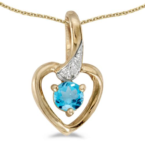 """14k Yellow Gold Round Blue Topaz And Diamond Heart Pendant with 18"""" Chain"""