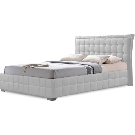 Baxton Studio Monaco Modern and Contemporary White Faux Leather King Size Platform Base Bed -