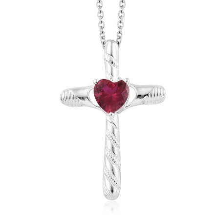 Mix Metal Ruby Cubic Zirconia CZ Cross Love Heart Valentines Pendant Necklace 20