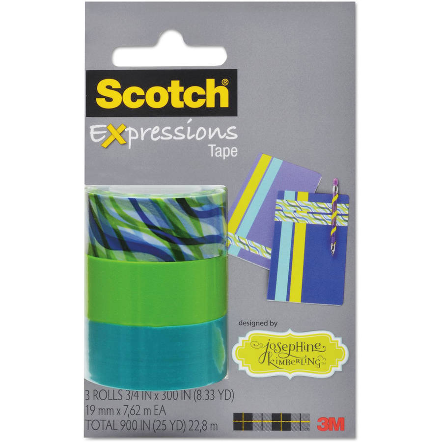 "Scotch Expressions Magic Tape, 3/4"" x 300"", Josephine Kimberling Asst. Tropic Wave 3 PK"