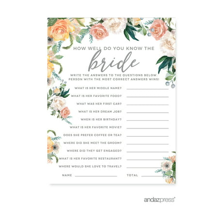 Peach Coral Floral Garden Party, How Well Do You Know the Bride?, Bridal Shower Game Cards, 20-Pack for $<!---->