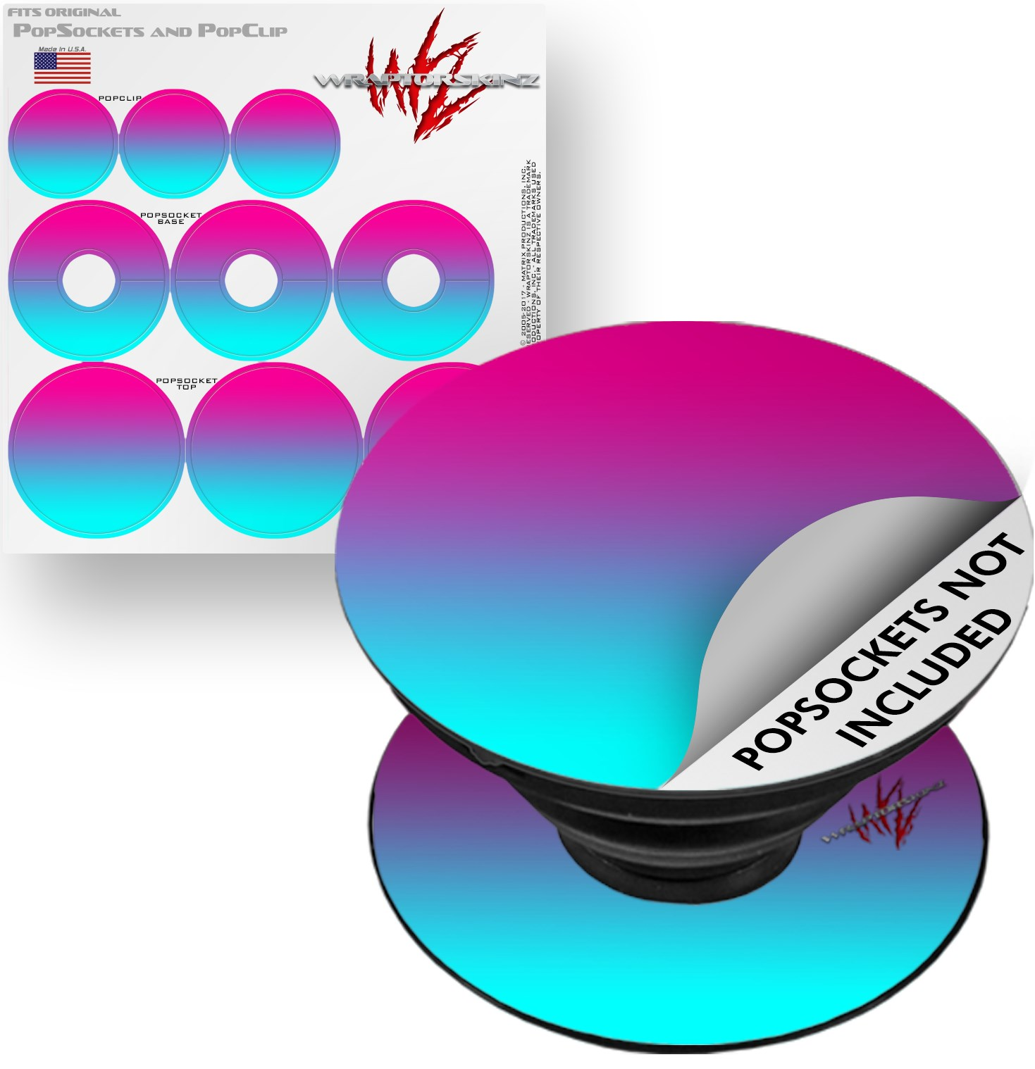 Decal Style Vinyl Skin Wrap 3 Pack for PopSockets Smooth Fades Neon Teal Hot Pink (POPSOCKET NOT INCLUDED) by WraptorSkinz